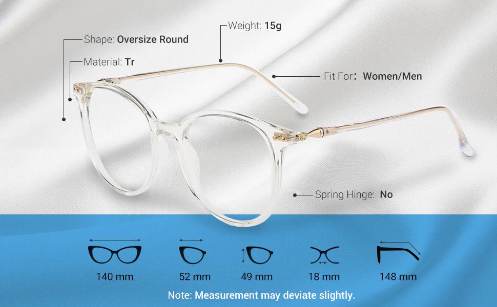 Unisex Glasses Round Computer Readers Eyeglasses Frames for Prescription Lens Snowlily Sunglasses