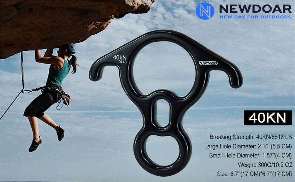 NewDoar Climbing Gear Downhill Equipment Placa de aparejo 40kN Figura de rescate 8 descendiente con gran oreja doblada para escalada y dispositivo de ...