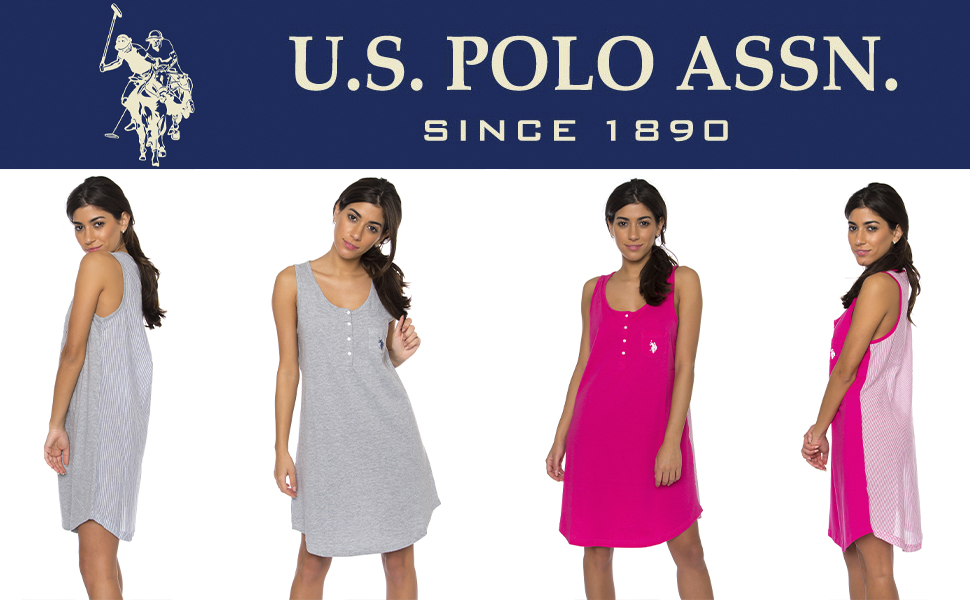 us polo long shirt nightgown sleepwear lounging style fashion grey pink