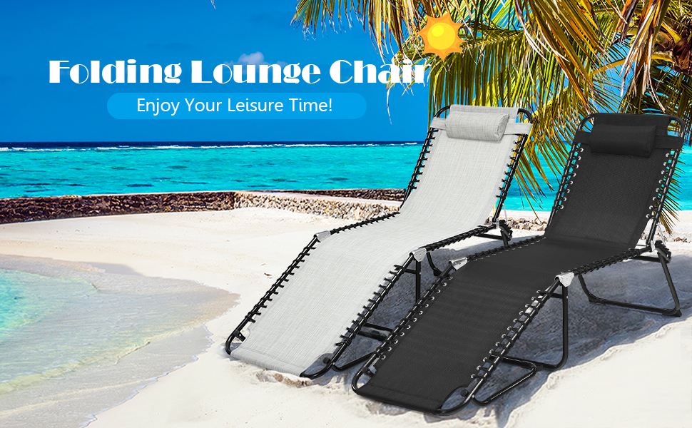 Enjoy shine and breeze with GYMAX folding adjustable chaise lounge