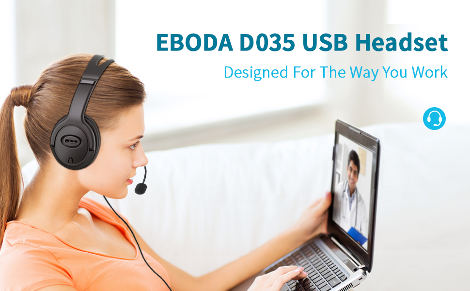 eboda usb headset with microphone, computer headset with mic, wired headset for laptop skype