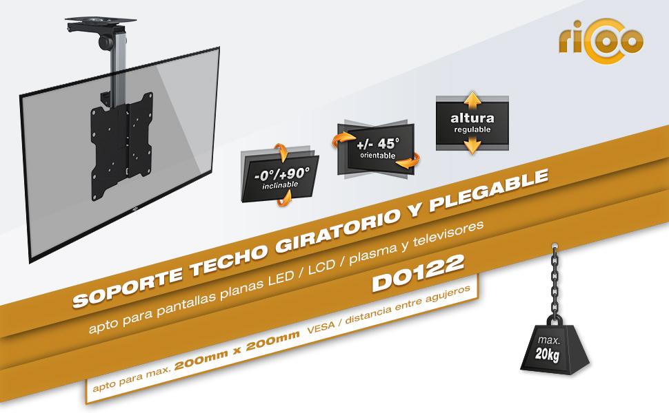 RICOO D0122, Soporte TV Techo, Giratorio, Plegable, Televisión 13 ...
