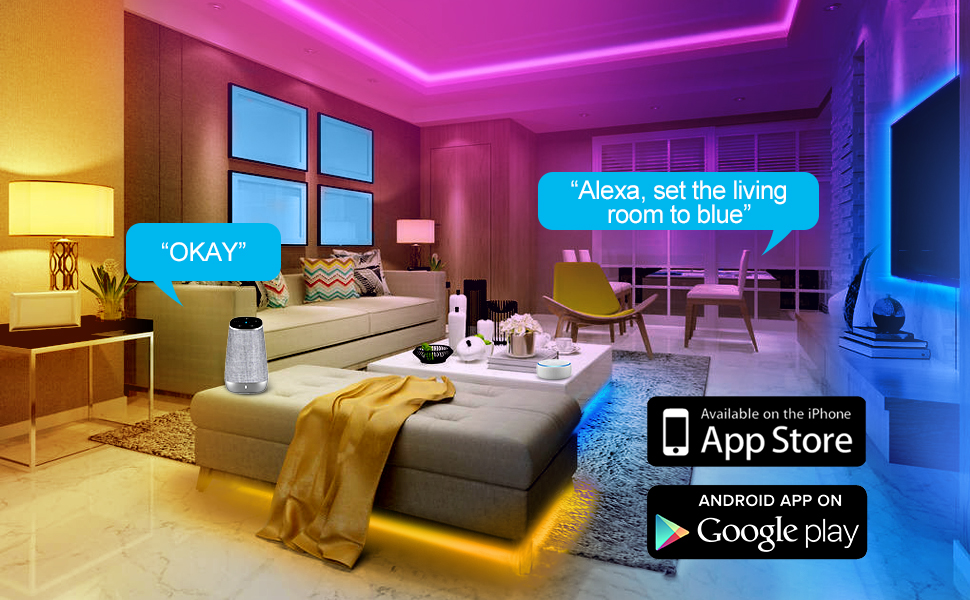 Ambother Led Strip Lights 32 8ft Wireless Smart Phone App Remote Controller 300 Leds Color Changing Kit Work With Alexa Google Assistant Music Sync