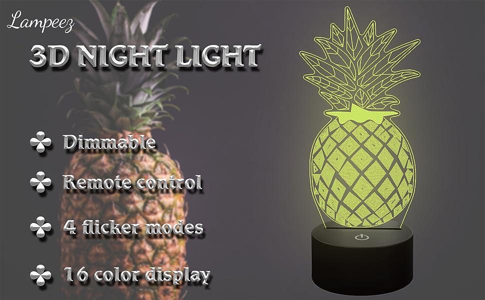 LED Night Lamp Switch Pineapple Fruit Cartoon Series Night Lamp Light ❤Ywoow❤ Table lamp
