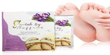 Footish by Saffron Foot mask Box with packet showing clean feet