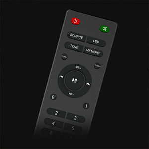 remote control of Creative SBS E2900 with source, volume controls