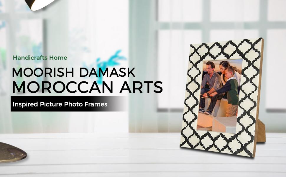 SPN-T2g Picture Photo Frame Moorish Damask Moroccan Arts Inspired Handmade Naturals Bone Frames