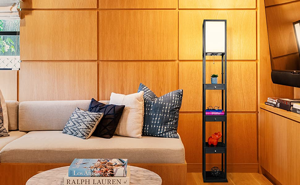 Brightech Maxwell Drawer Edition - Shelf amp; LED Floor Lamp Combination