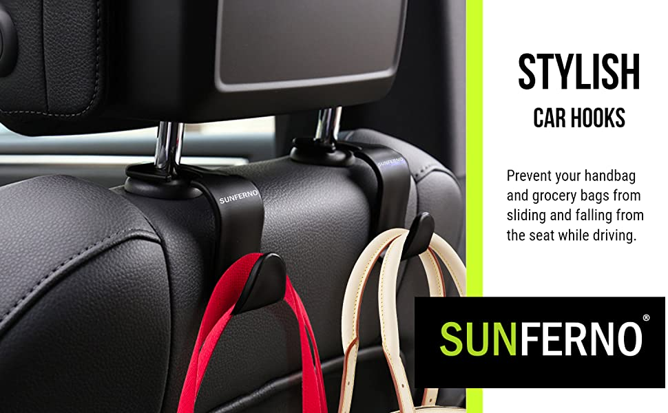 Sunferno Car headrest hooks for handbags and grocery bags