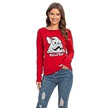 Alcea Rosea Womens Cotton Long Sleeve Cute Animal Pattern Pullover Tunic Knit Sweater Tops