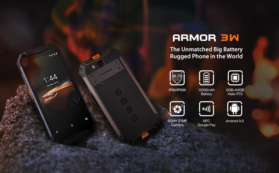 Amazon Com Rugged Phones Ulefone Armor 3w Ip68 Waterproof Cell Phone Unlocked Android 9 0 10300mah Big Battery Dual 4g 5 7 Inch Fhd 21mp 8mp Helio P70 6gb 64gb Glonass Gps Shockproof Dustproof Black