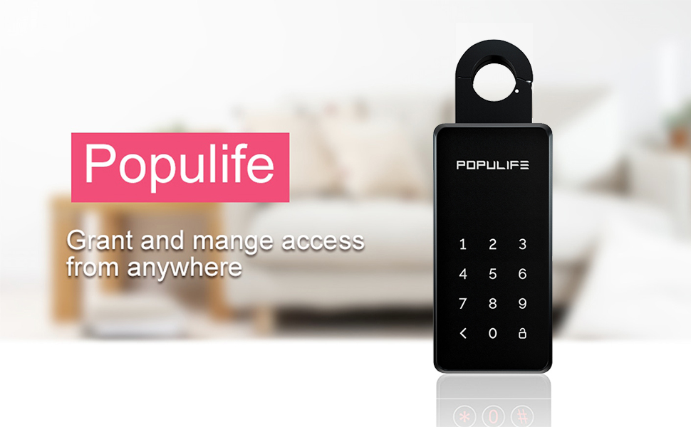 School Office Hotel Populife Keybox,IP65 Bluetooth Smart Key Lock Box Replaceable Password for Home