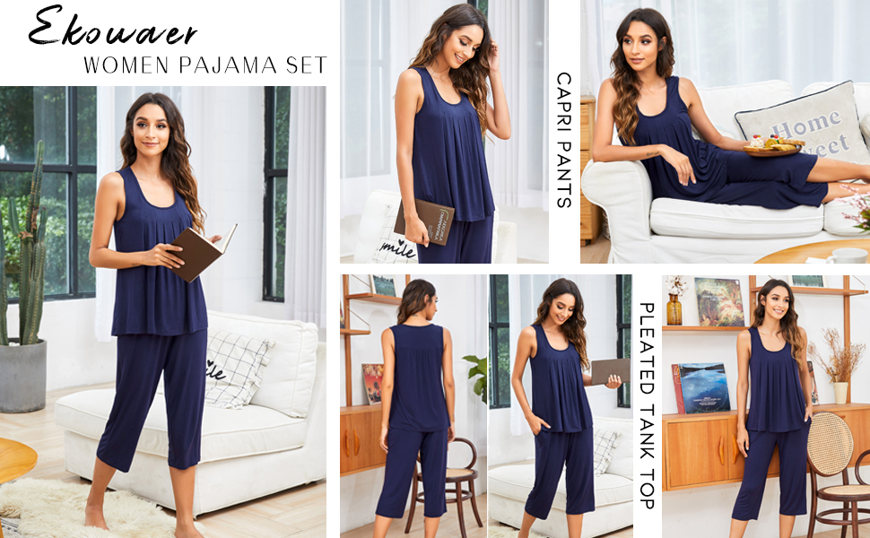 capri pants with pockets sleeveless pajama set