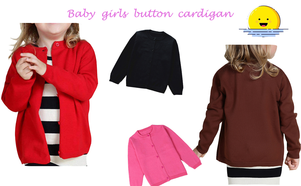 8317a33390a GSVIBK Girls Cardigans Long Sleeve Crewneck Cardigans Solid Knit Button Sweater  Cardigan for Baby Girl. 3. 2. 14 solid colors available: