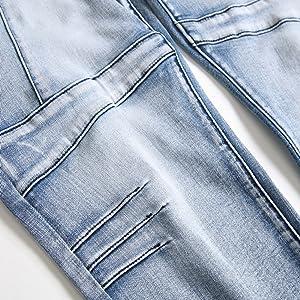 slim fit biker jeans for men light blue