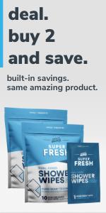 Super Fresh FunkBlock Shower Wipes 2-Pack Deal