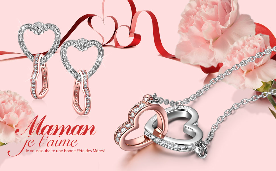 Or Rose Bijoux Femme Cristal de Swarovski Pendentif Coeur /à Coeur Cadeau F/ête des M/ères Bo/îte /à Bijoux Mon Destin Kami Idea Collier
