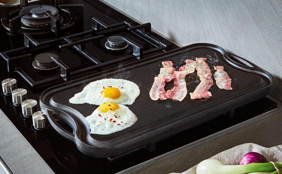 Uno Casa Plancha de Cocina de Hierro Fundido para Colocar sobre los Fuegos - Parrilla portátil de 51 x 26 cm presazonada con Limpiador de Malla ...