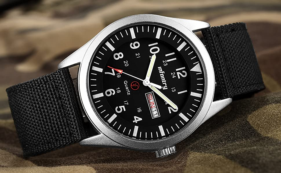 INFANTRY Mens Military Army Analog Watch Field Sport Wrist Watches for Men Nylon Strap Day & Date