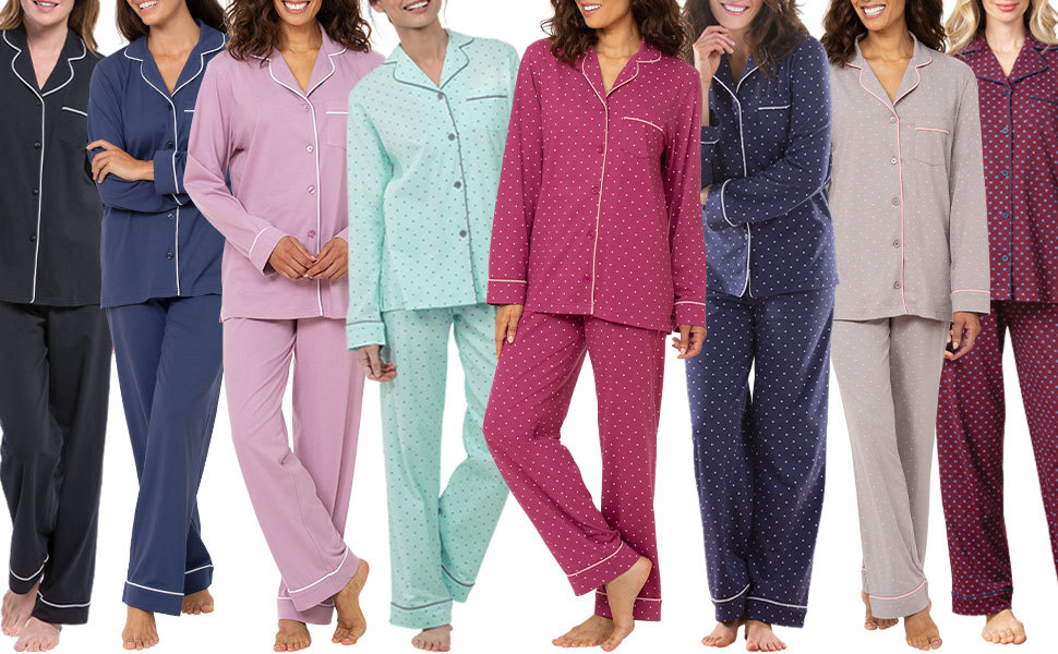 Lineup of women in dot and solid boyfriend pajamas