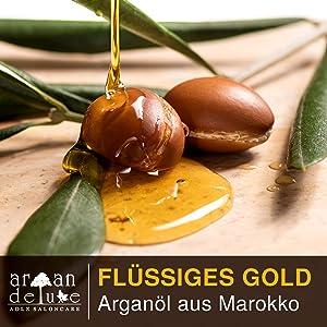 Flüssiges Gold: fließendes Arganöl in schönem Licht