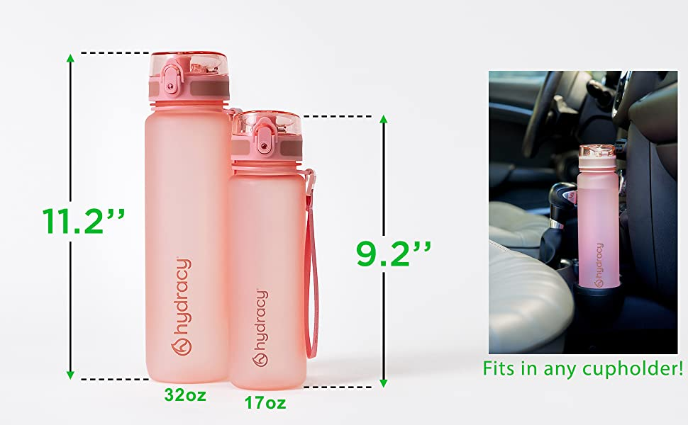 sports water bottle with time marks