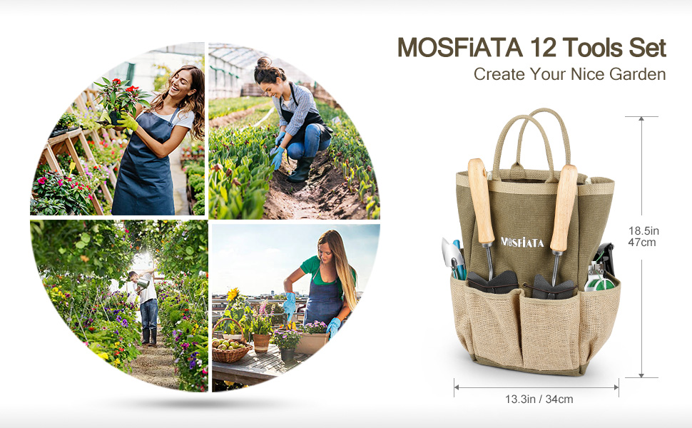 MOSFiATA garden tools set 12 pieces bag size