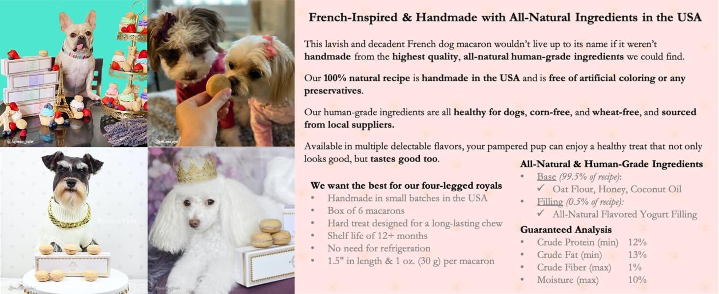 Dog Macarons Macaroons natural healthy handmade USA France corn-free human grade dog pup gift treats