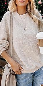 Casual Long Sleeve Crewneck Fleece Pullover Sweatshirt Solid Color Sherpa Fuzzy Warm Outerwear Tops