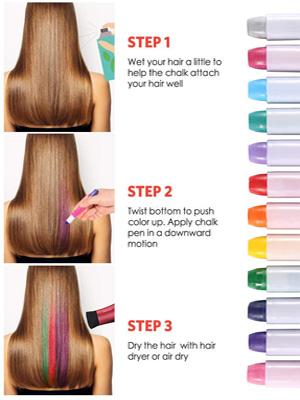 KNMY Tizas para el Pelo, Tiza Cabello 12 Colores, Coloración Temporal Cabello, Regalos para Niñas, Lavables Plumas de Tinte Para el Cabello Set de ...