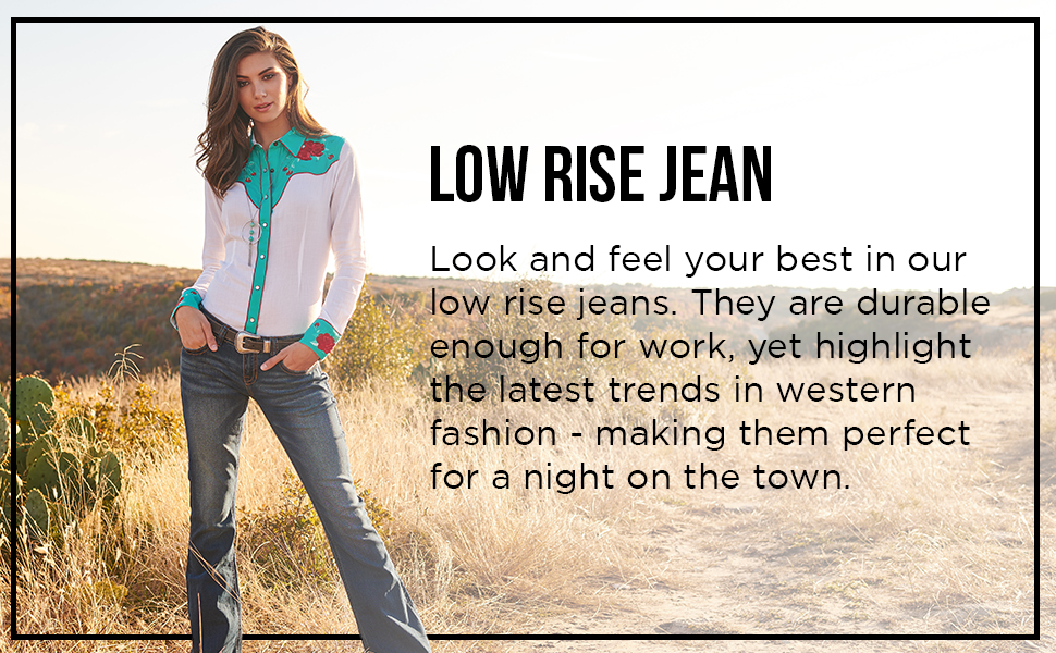 rock and roll cowgirl low rise jeans