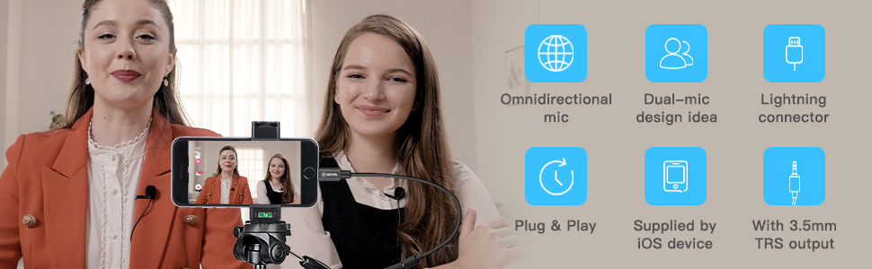BOYA Dual iphone lightning lavalier microphone