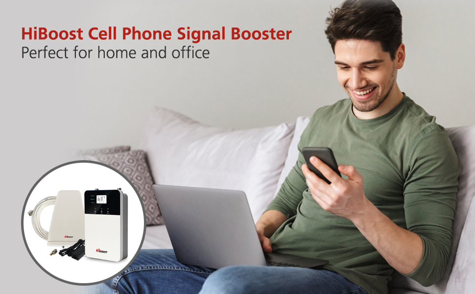 HiBoost home cell phone signal booster repeater support att verizon t-mobile sprint signal booster
