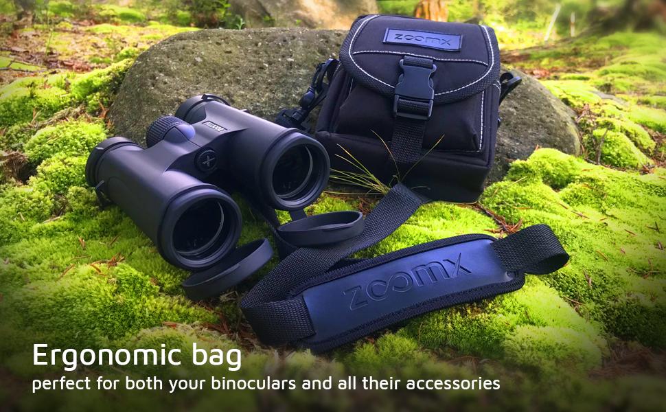 Ergonomic Binoculars Bag for accessories. Binocular bag for smartphone adapter and the neck strap