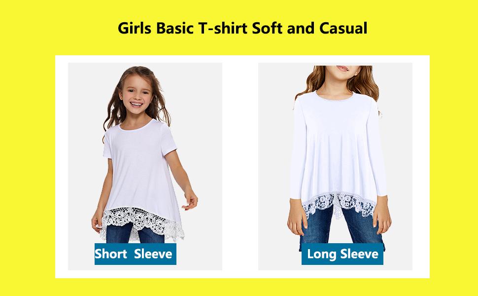 Fashion Tunic Shirt Dress with Flounces Girls Short Sleeve Thin Red Line Flag Shirts 2-6T