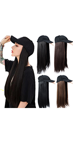 Baseball Cap With Synthetic Hair Extensions Curly Straight Hairpiece Wig with Baseball Hat with Hair