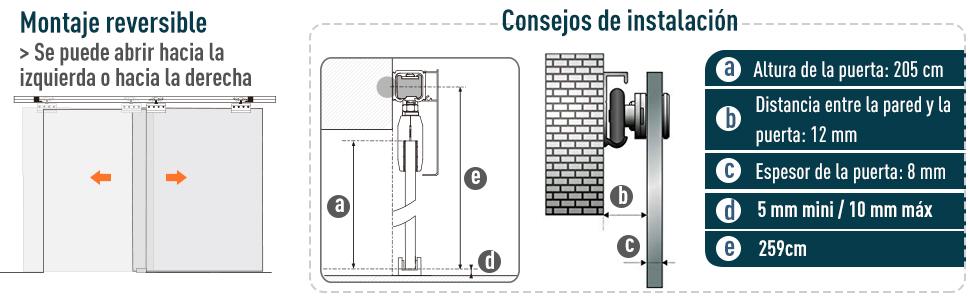 HOMCOM Puerta Corredera 102,5x205cm Puertas Correderas Satinada Deslizantes Cristal sin Obra: Amazon.es: Hogar