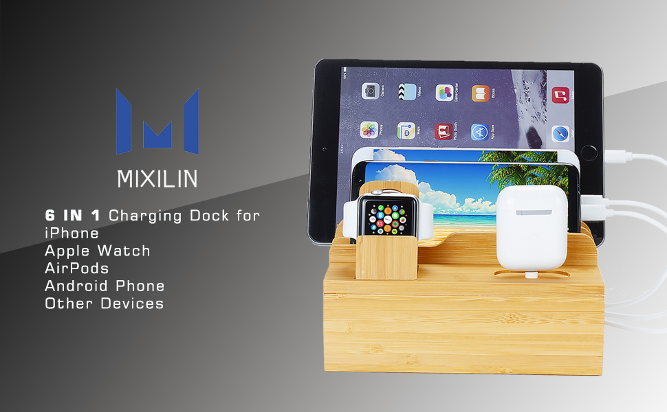Fashionable Bamboo/Charging Station for Apple Watch AirPods Series,6 in 1 Wooden Docking Station for Multiple Device.