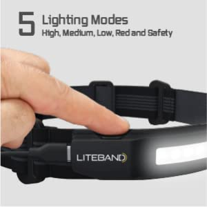 5 Lighting Modes: high, medium, low, red, and safety