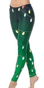 christmas lights, christmas leggings, holiday lights legging, green holiday legging, lights legging