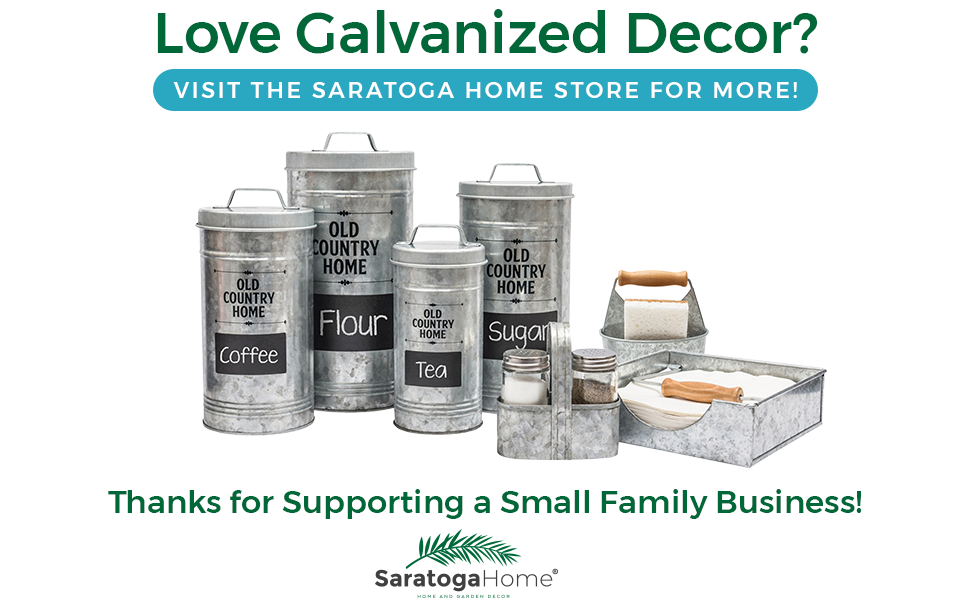Farmhouse Country Decor Kitchen Canisters Set by Saratoga Home Set of 4 Silver Galvanized Containers