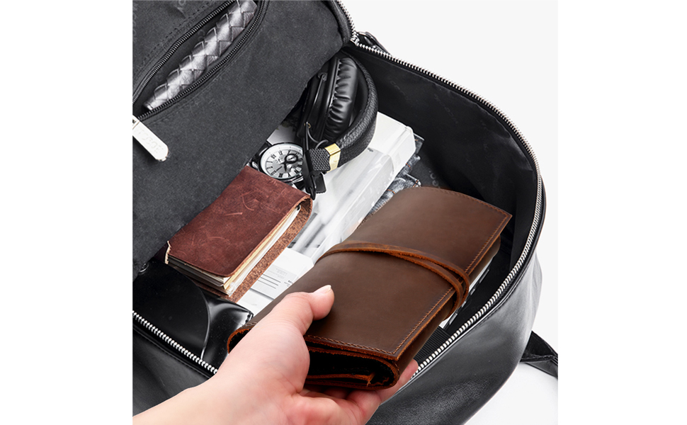 genuine leather cord organizer roll bag for travel festival gift  crazy horse leather pouch