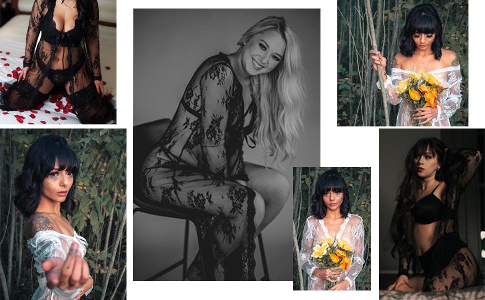 Long Lingerie Robe for Women See Through Dress