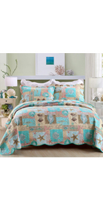 shell marine green plaid colored bedspread quilt set