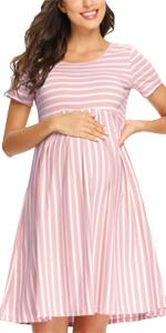 GLAMIX Women's Maternity Midi Dress
