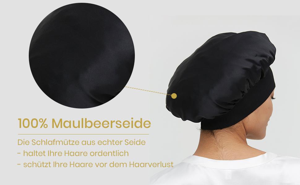 Mommesilk Gorro de dormir de seda para mujer con pelo largo, suave y con banda elástica ancha para dormir, cáncer, quimio, pérdida de pelo, embalaje ...