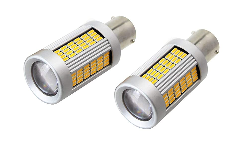 No Hyper Flash 25W Amber 1156 CAN-bus LED Replacement Bulbs For Car Front or Rear Turn Signal