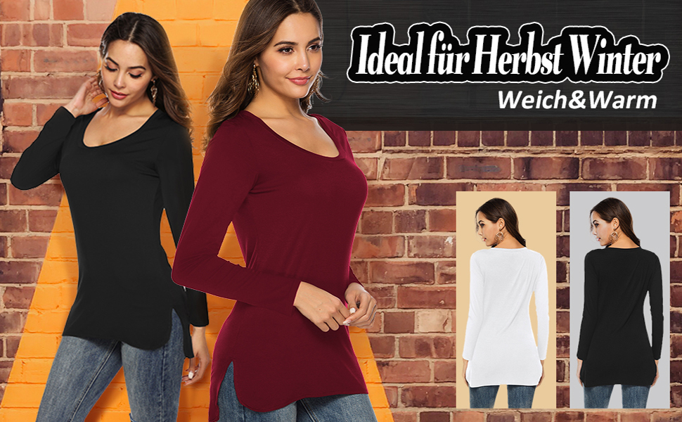 Beluring Damen T-Shirt Rundhals Kurzarm Oberteil Tops Basic T Shirt mit seitlichem Schlitz