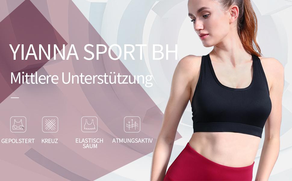 YIANNA Damen Sport BH Ohne B/ügel Bustier X-R/ücken Yoga BH mit Abnehmbare Gepolstert