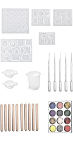 Silicone Mold resin measuring cups wood stir stick pipettes suction tubes glitter sparkle